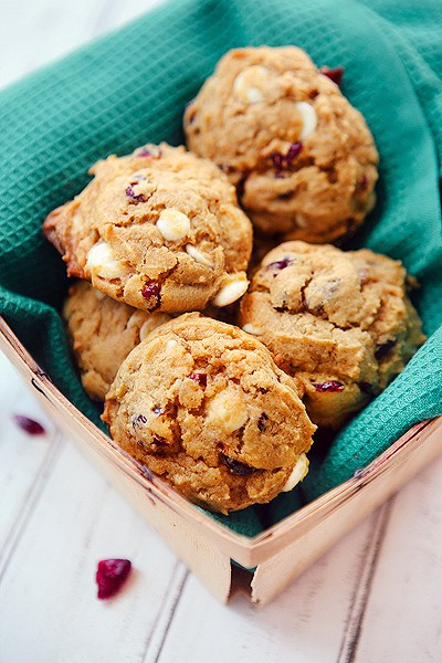 Pumpkin Cranberry Cookies with White Chocolate