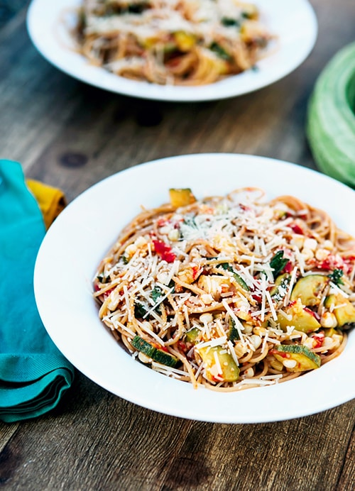 Roasted Corn, Zucchini, Tomato Pasta: From the Garden
