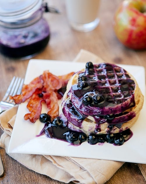 Pineapple Blueberry Sauce with Waffles
