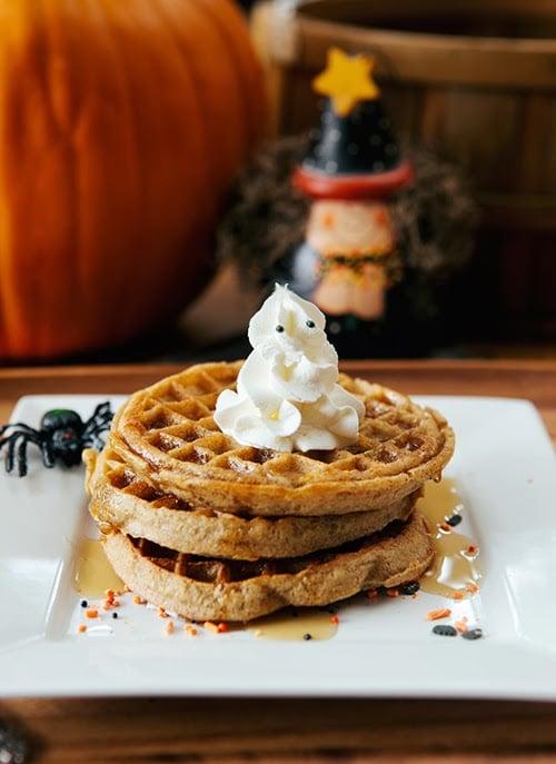 Pumpkin Halloween Waffle Ghosts {Giveaway}