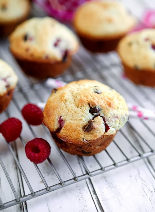 Raspberry Chocolate Chip Muffins for a Baby Shower