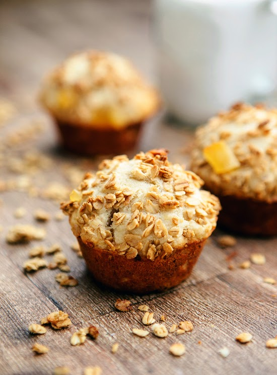 Whole Grain Banana Muffins with Granola Crumb Topping