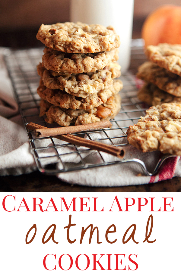 A stack of caramel apple cookies and a jar of milk