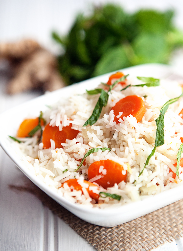Carrot Ginger Rice with Fresh Mint + Giveaway