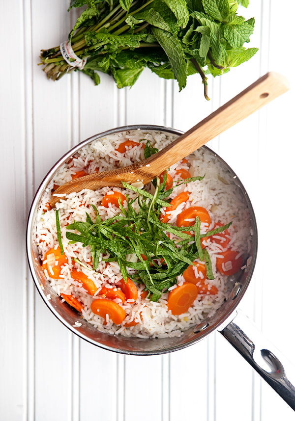 Carrot Ginger Rice with Fresh Mint | Some the Wiser