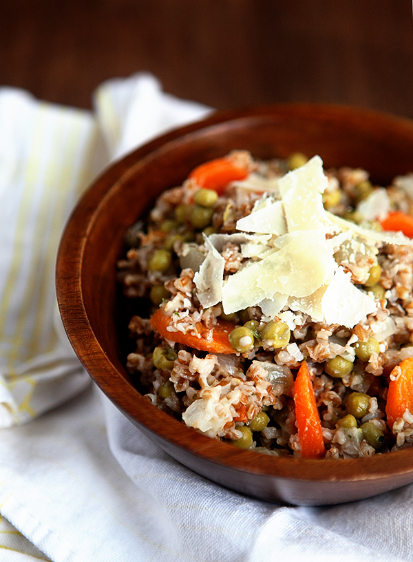 Whole Grain Bulgur Risotto with Peas and Carrots