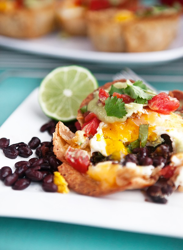 Huevos Rancheros Cups with Green Chile Avocado Sauce