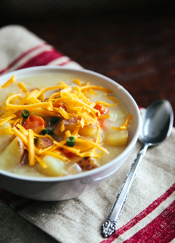 Home Style Cheddar Potato Soup + Cabin Fun