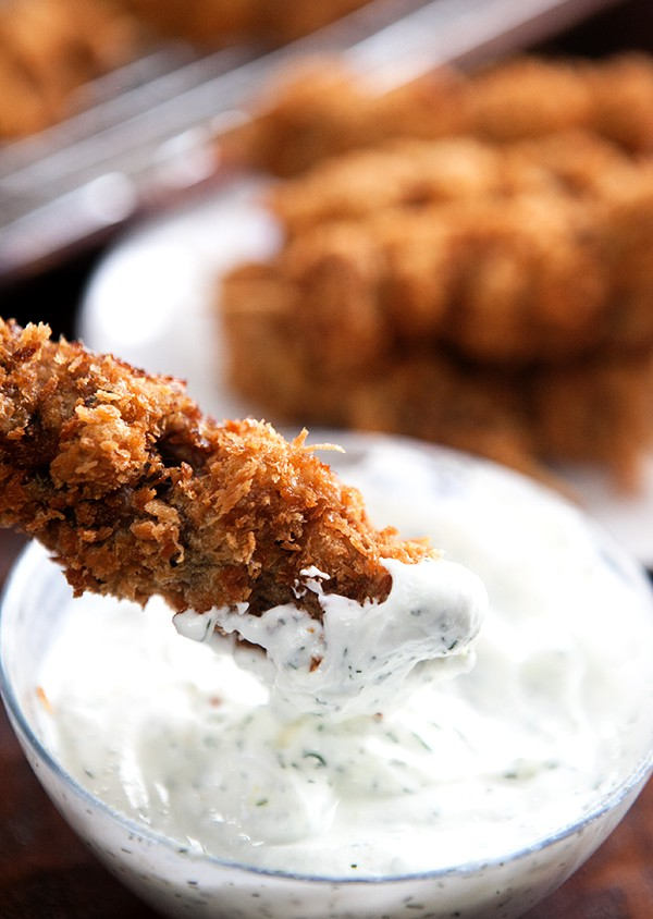 City Chicken with Greek Yogurt Dill Sauce