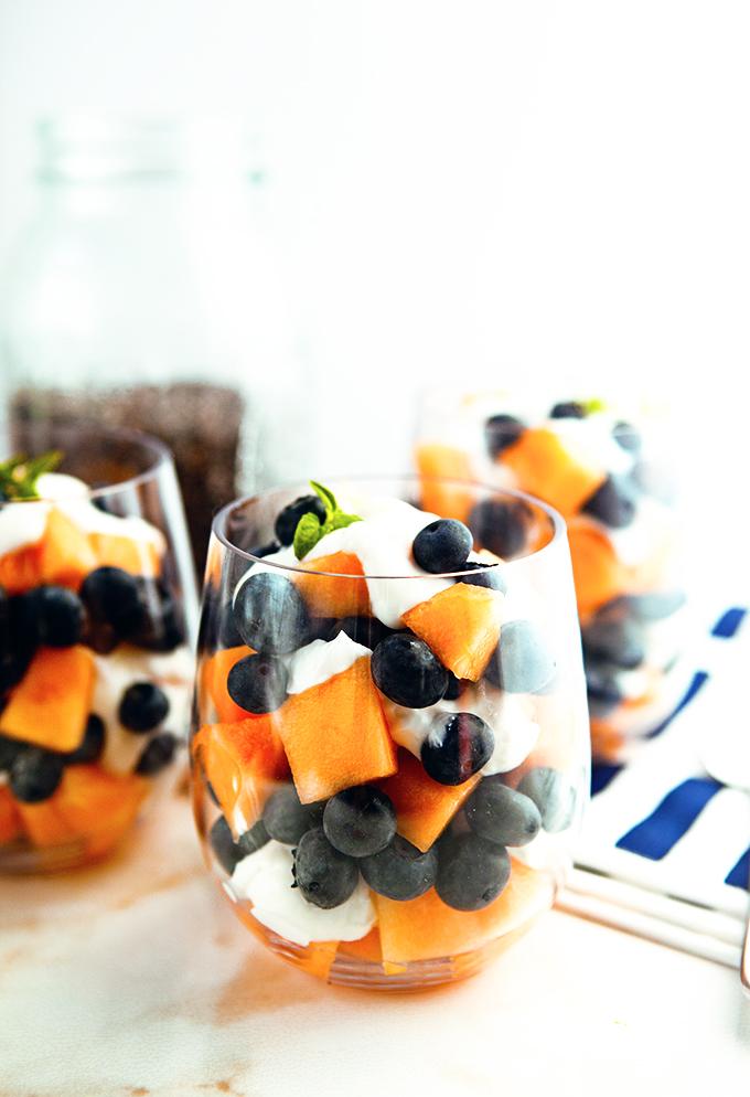 Cantaloupe Blueberry Lemon Parfaits