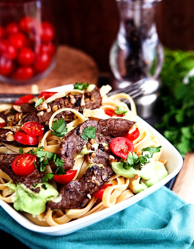 Creamy Avocado Fettuccine with Sauteed Garlic Beef