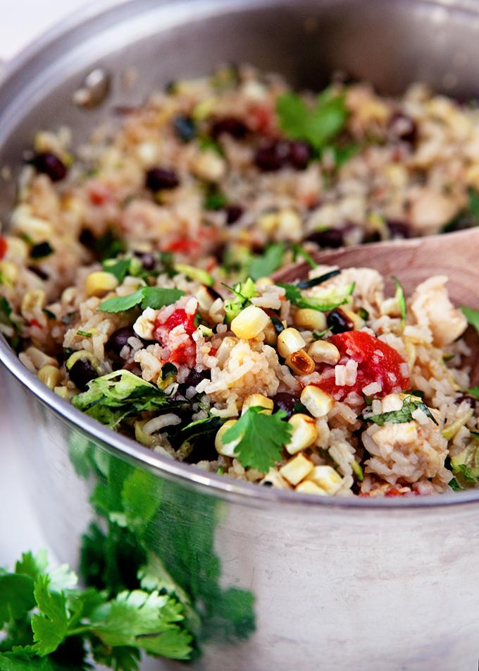 One Pot Zucchini Rice Burrito Bowls
