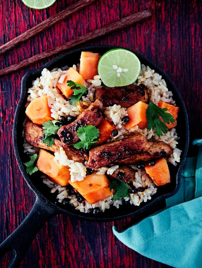 Thai Pork and Papaya Brown Rice Bowls