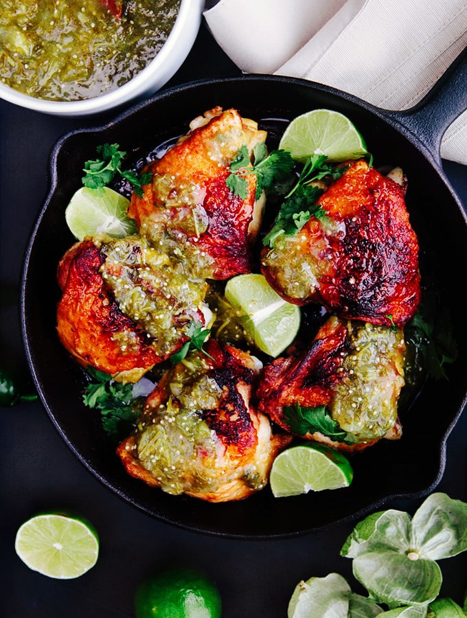 Crispy Skillet Chicken with Salsa Verde
