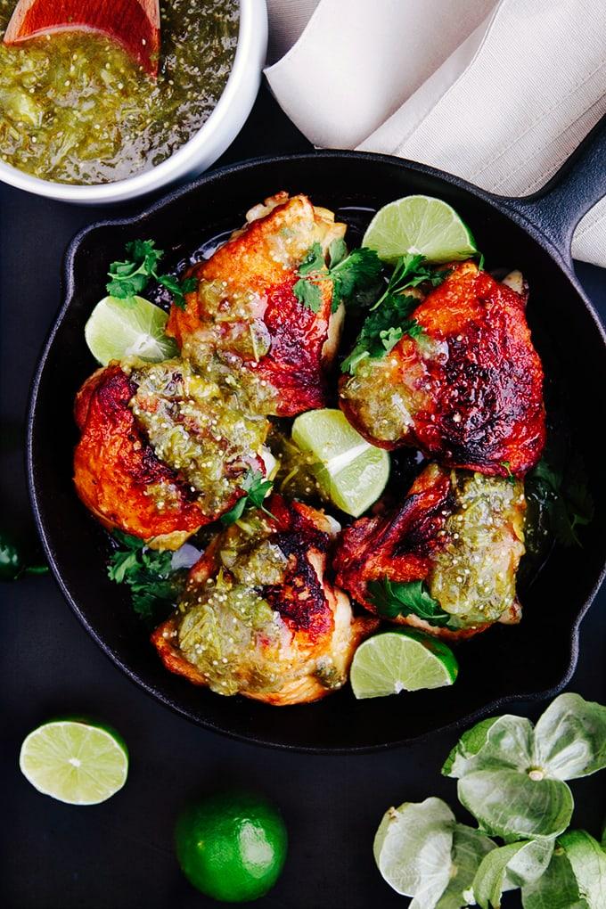 Crispy Skillet Chicken with Salsa Verde