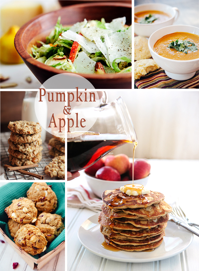 Favorite Pumpkin and Apple Recipes: From Caramel Apple Cookies and Apple Blender Pancakes to Pumpkin Kale Mac & Cheese.