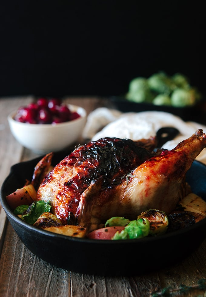 Cranberry Glazed Cornish Game Hens with Sausage Bread Stuffing
