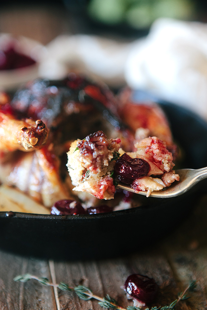 Crispy Cornish Game Hens with Cranberry Glaze and Sausage Bread Stuffing