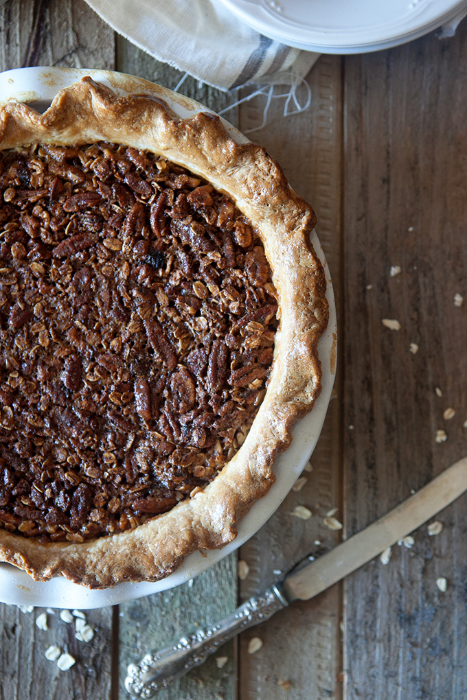 Oatmeal Pecan Pie : My all time favorite Thanksgiving Pecan Pie! With the oats, this is hearty twist on the classic Pecan Pie.