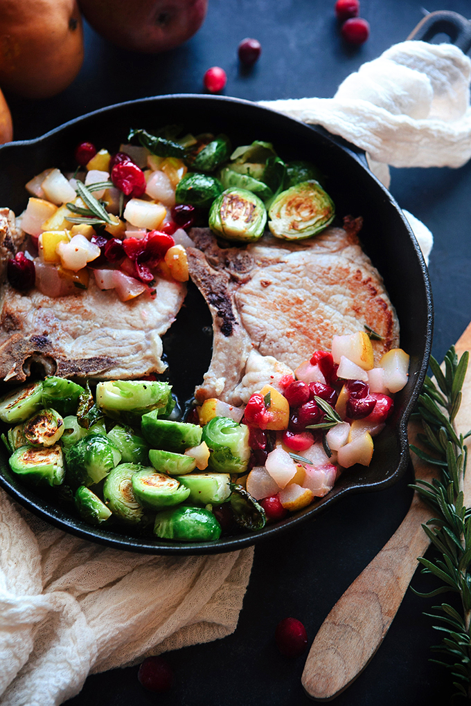 Pork Chops with Cranberry Pear Sauce - easy, fast dinner recipe with a seasonal cranberry pear sauce.