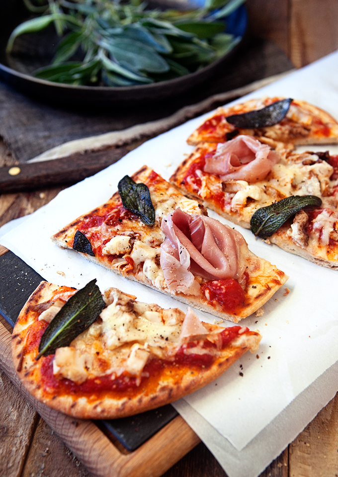 Roasted Turkey and Prosciutto Pizza with Crispy Brown Butter Sage: This is what you do with your Thanksgiving Leftovers! Easy, flat bread pizza!