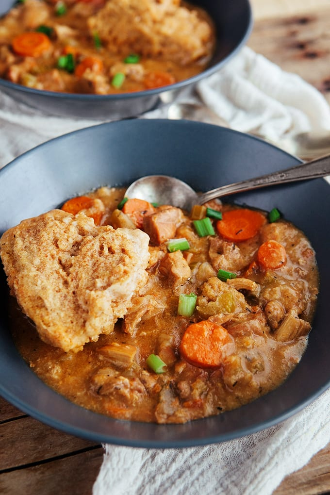 Slow Cooker Chicken and Dumplings - The delicious classic recipe made easier with the crock pot and healthier with whole grains!