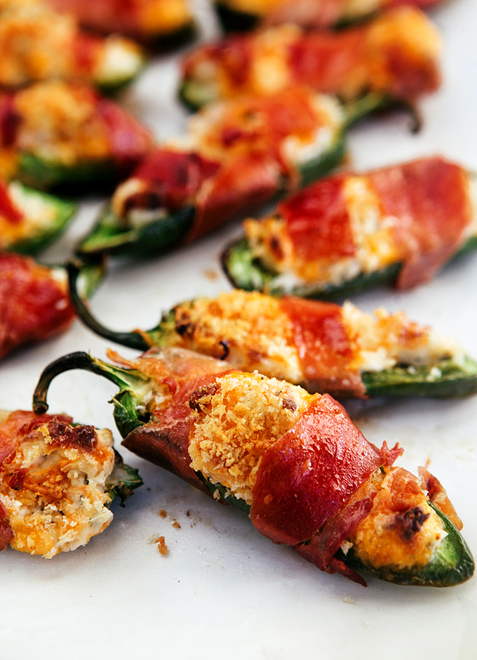 Crispiest Baked Jalapeno Poppers: With Panko Bread Crumbs and Prosciutto, every single bite is a cheesy, crunchy, taste of deliciousness!