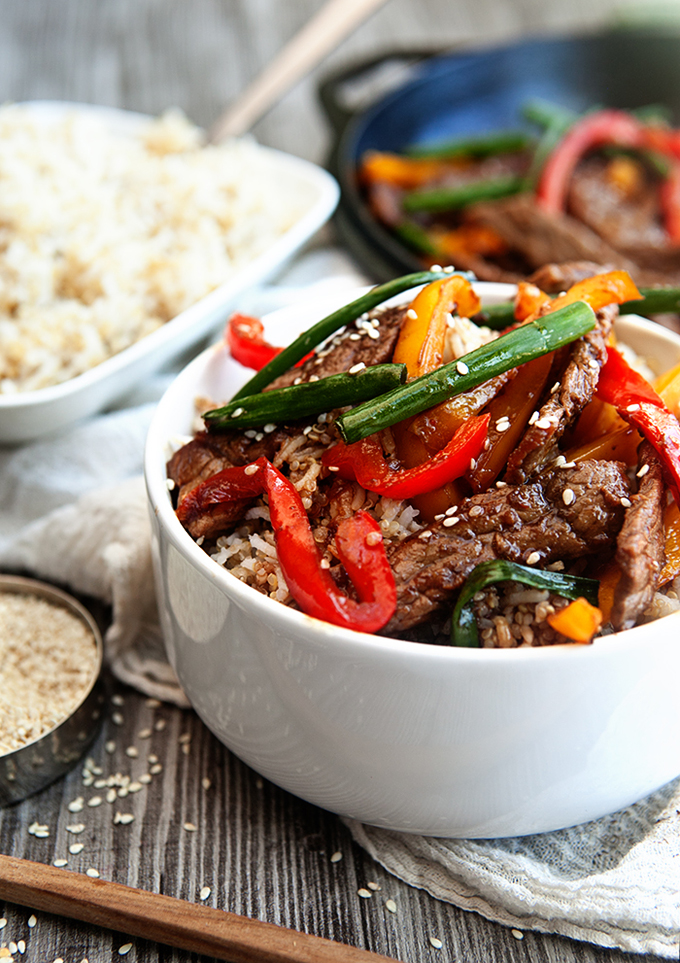 Healthy Beef Stir Fry: An easy, healthy dinner recipe on the table in 20 minutes or less!