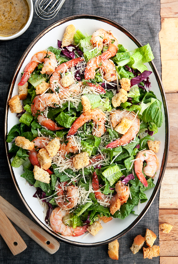 Garlic Shrimp Caesar Salad: So Easy to make at home and healthy too at under 300 calories per serving!