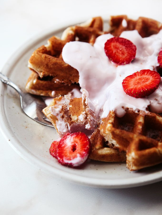 Whole Grain Strawberry Yogurt Waffles