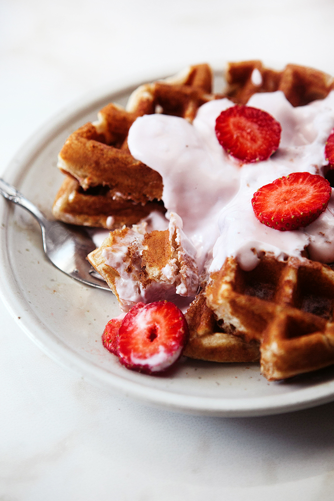 Whole Grain Strawberry Yogurt Waffles: Adding yogurt to waffle batter is our family secret for really great waffles! Favorite Breakfast Recipe at our house.
