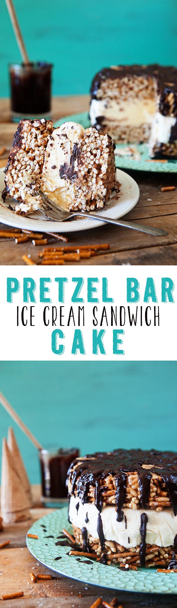 Pretzel Bar Ice Cream Sandwich Cake: An Easy No Bake Ice Cream Dessert Recipe