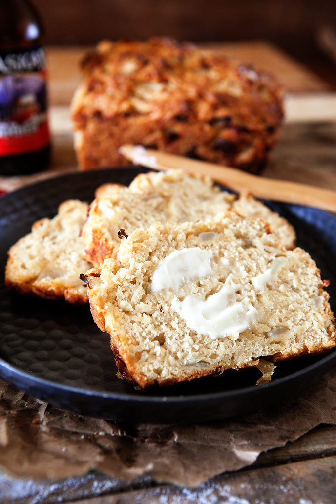 Beer Batter Bread with Caramelized Onions and Cheese