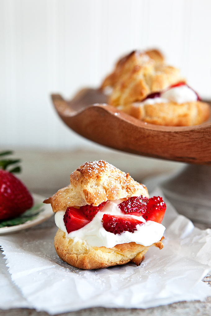 Strawberry Buttermilk Whipped Cream Puffs