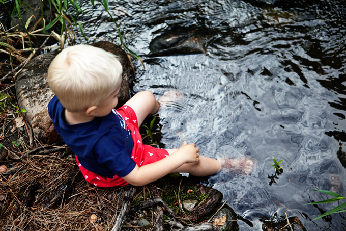 Boy Wading in Stream