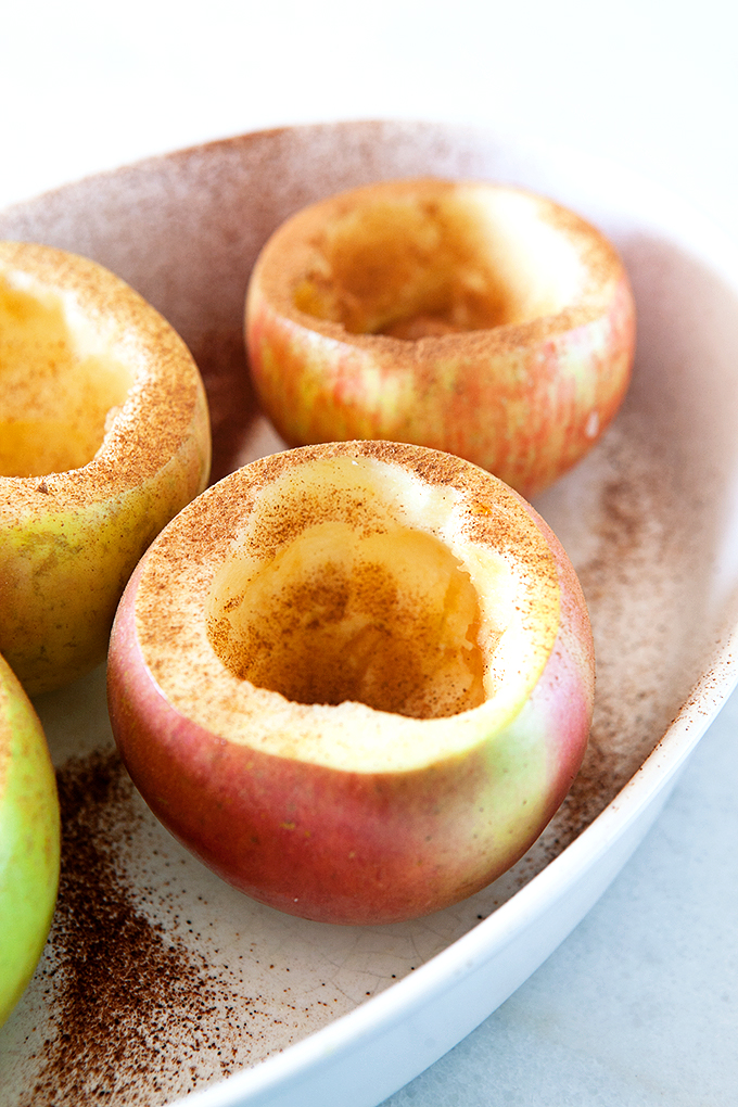 Apples Cored and Hollowed for Pumpkin Pie Baked Apples