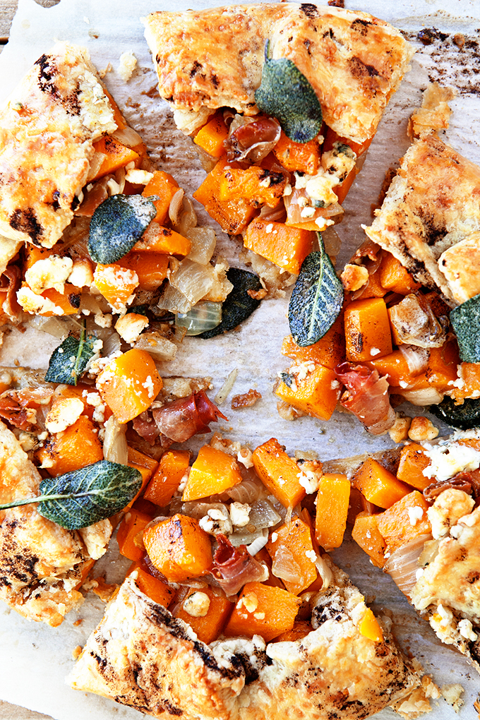 Butternut Squash Galette with Prosciutto and Crispy Sage Sliced