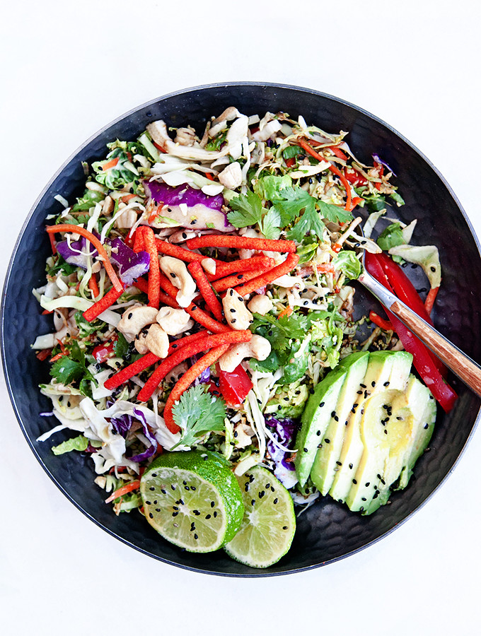 Crunchy Asian Salad with Shredded Brussels Sprouts