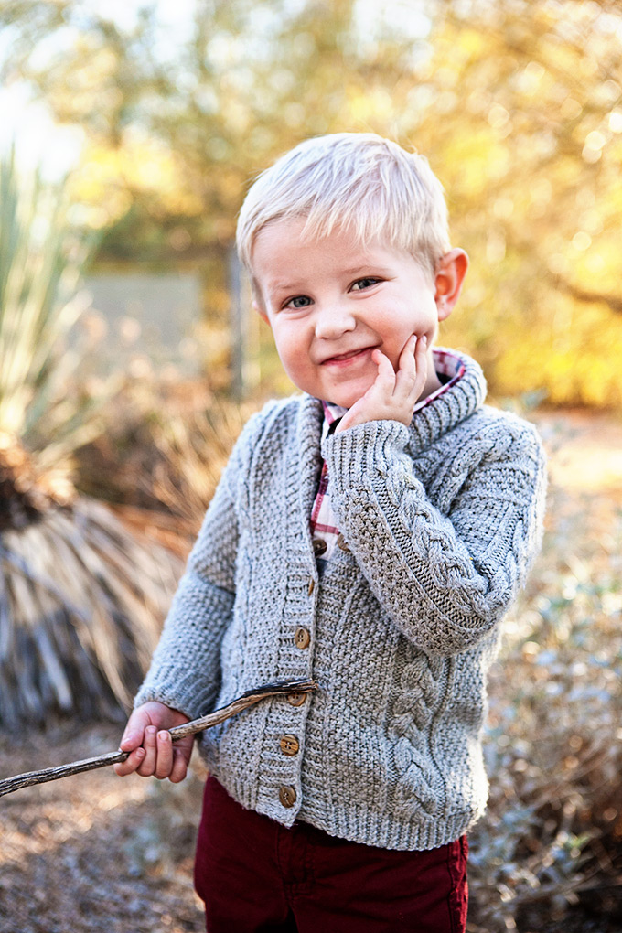 Hand knit sweater on a toddler