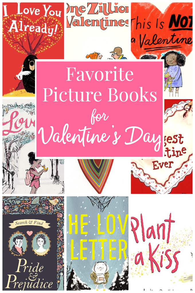 A collage of picture books for Valentine's Day