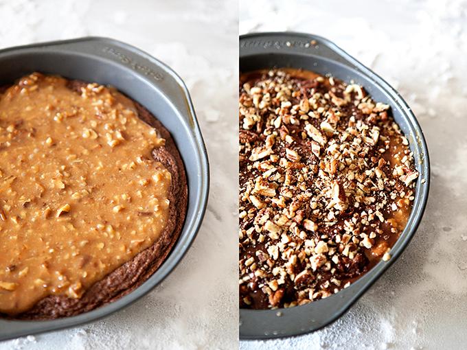 Stuffed Pecan Caramel Brownies Uncooked Layers