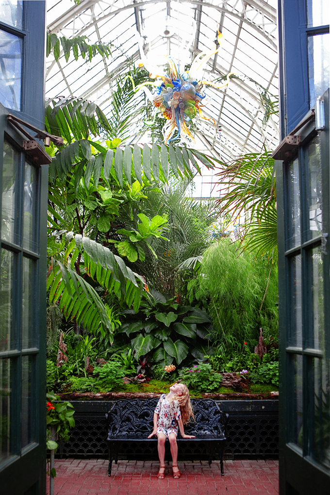 Girl visiting the Biltmore Gardens and Conservatory looking at Chihuly Sculpture hanging above her