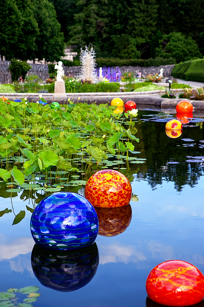 Blown Glass Balls by Dale Chihuly in Pond at Biltmore Gardens