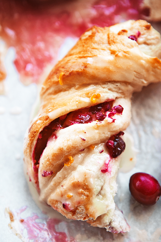 Close up of the inside of a cranberry orange sweet roll