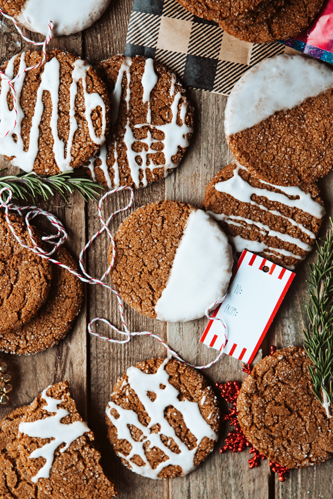 Spiced Ginger Cookies with Lemon Glaze on a board with Christmas decor