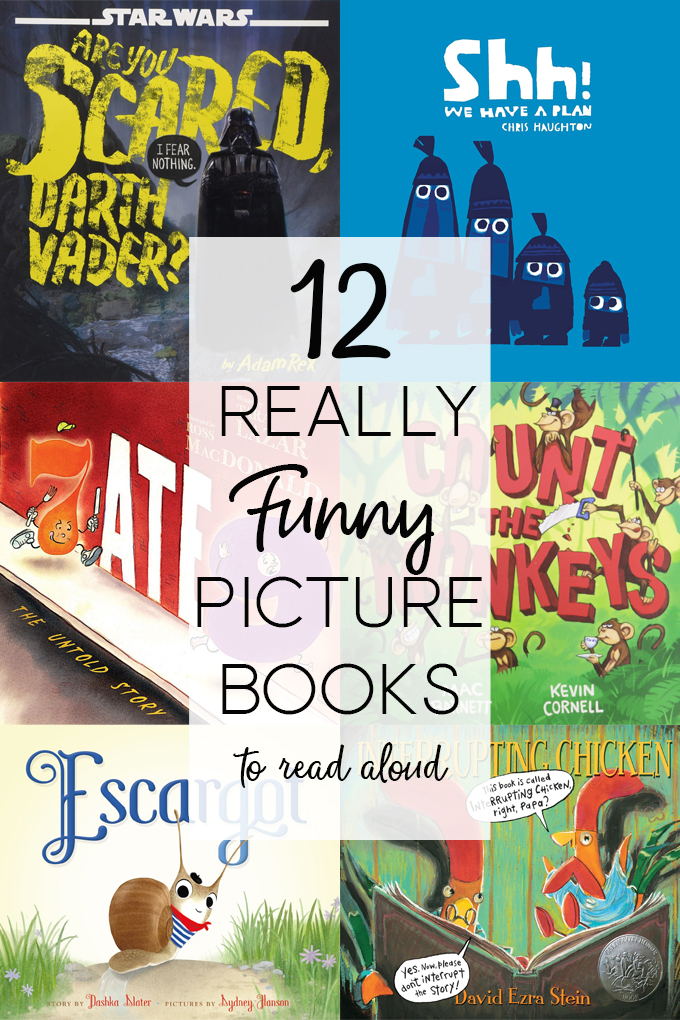Collage of book covers of really funny picture books