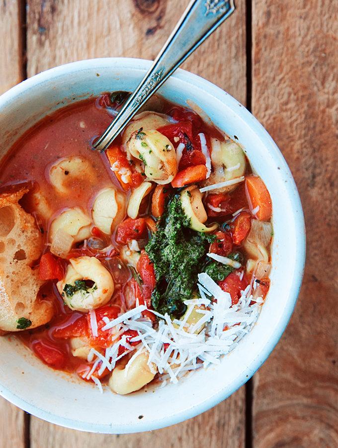Tomato Tortellini Soup Recipe with Basil Pesto