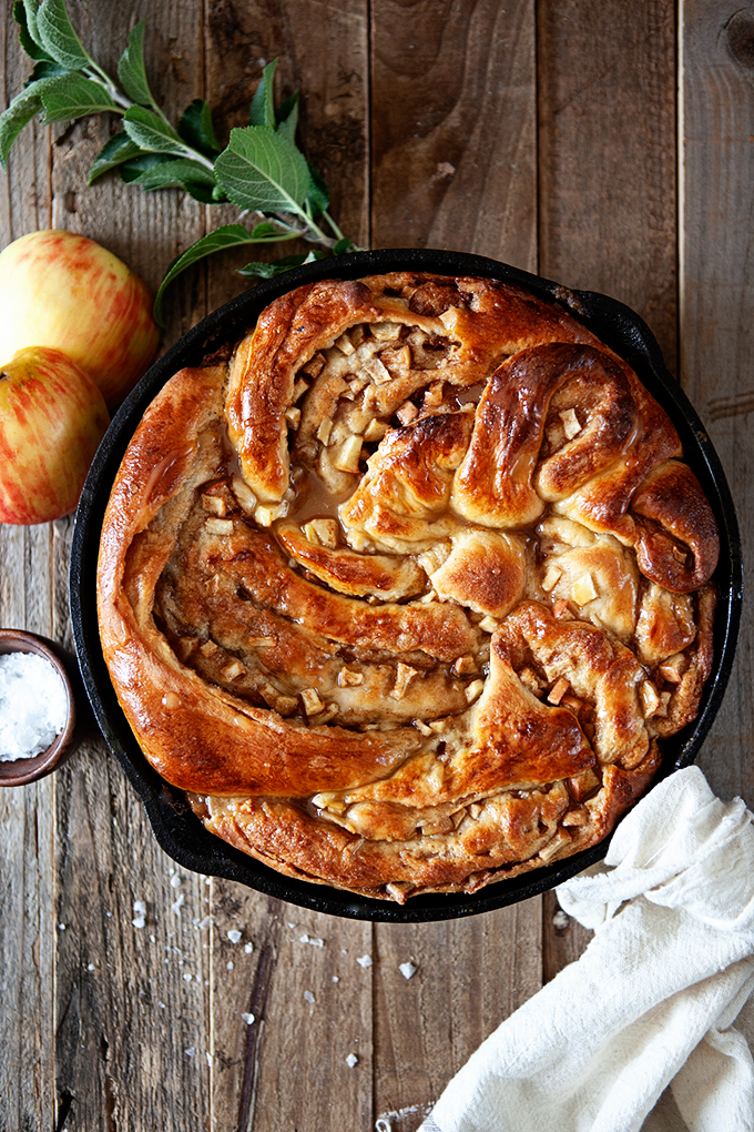 Cinnamon Apple Skillet Bread with Salted Maple Butter