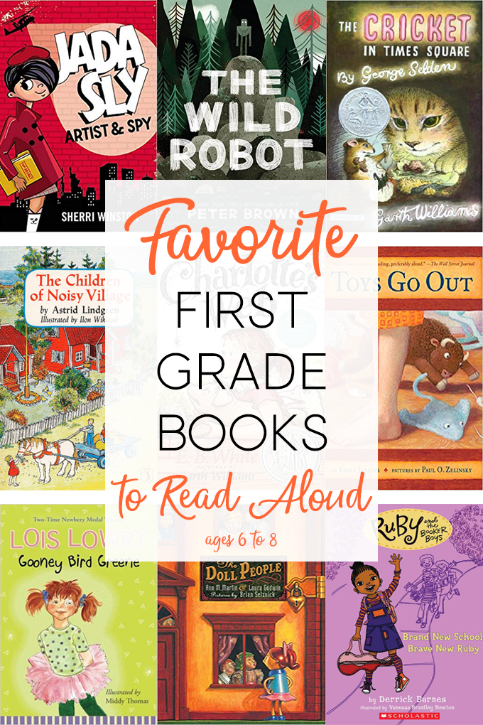Book collage of the best read aloud books for first grade