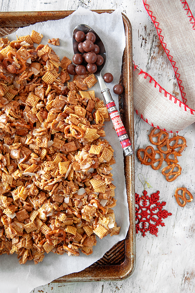 a sheet pan of malted golden graham chex mix